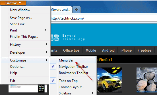 Firefox-menu bar