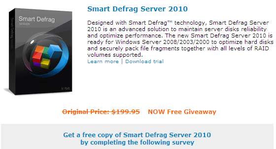 Note: Smart Defrag Server 2010 is not intended for home users. It's