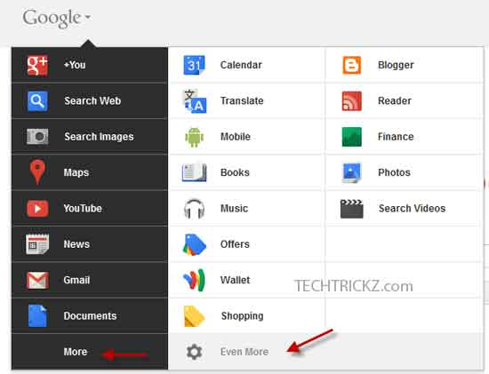 New-Google-Bar menu