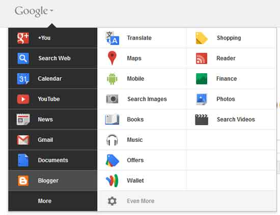 Redesigned-google-menu-bar