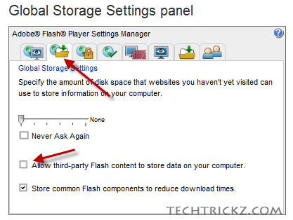 Global-storage-settings