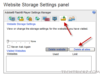 website-storage-settings