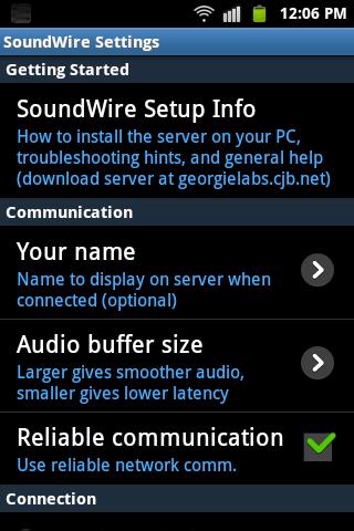 SoundWire-settings
