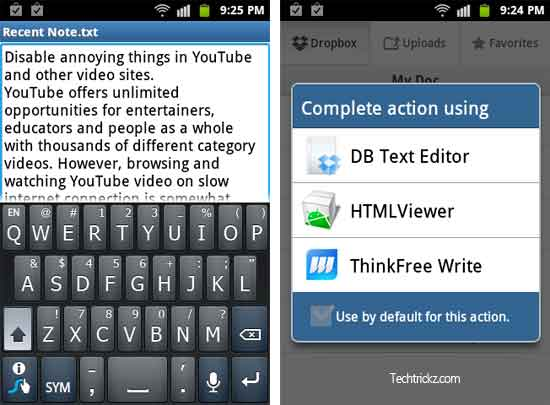 Use Dropbox To Edit Text On Android And iOS - Techtrickz