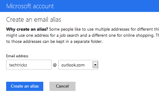 Outlook-email-Alias