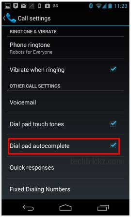 Dial-pad-autocomplete-option