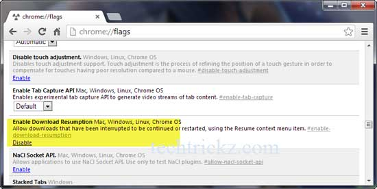 resume downloads in google chrome 29 without external download