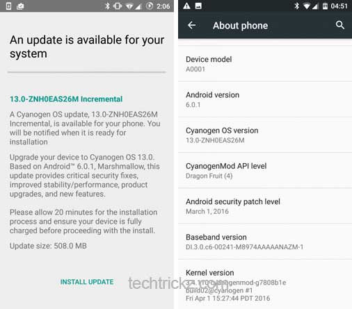how to change os on oneplus one
