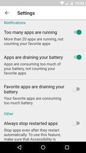 Kaspersky Battery Life app settings